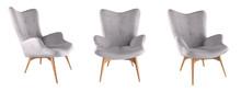 Modern Grey Armchair Set Isolated On White Background. 3D Render Illustration.