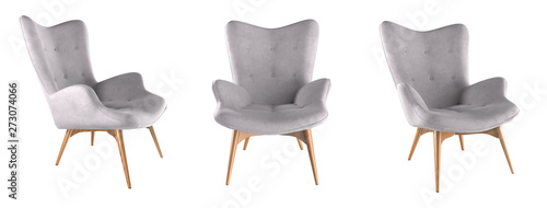 Photo Modern grey armchair set isolated on white background