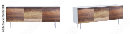 Fotografie, Tablou Vintage sideboard isolated on white background with clipping path included