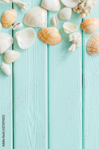 Poster Amsterdam Seaside pattern with shells on mint green wooden background top view mock up