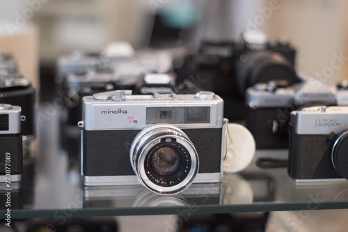 Vintage Cameras Shop with various models of analog cameras Canvas Print