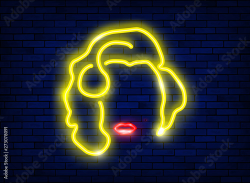 Photo  neon silhouette of a beautiful sexy blonde girl with red lips