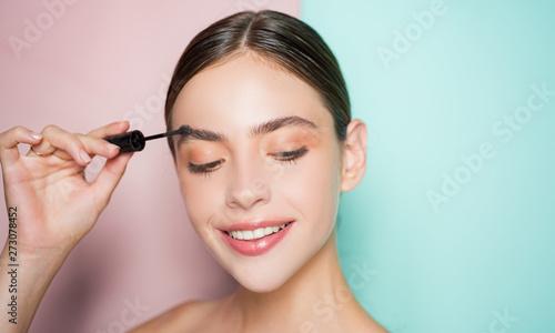 Valokuva Beautiful thick eyebrows, a vivid glance
