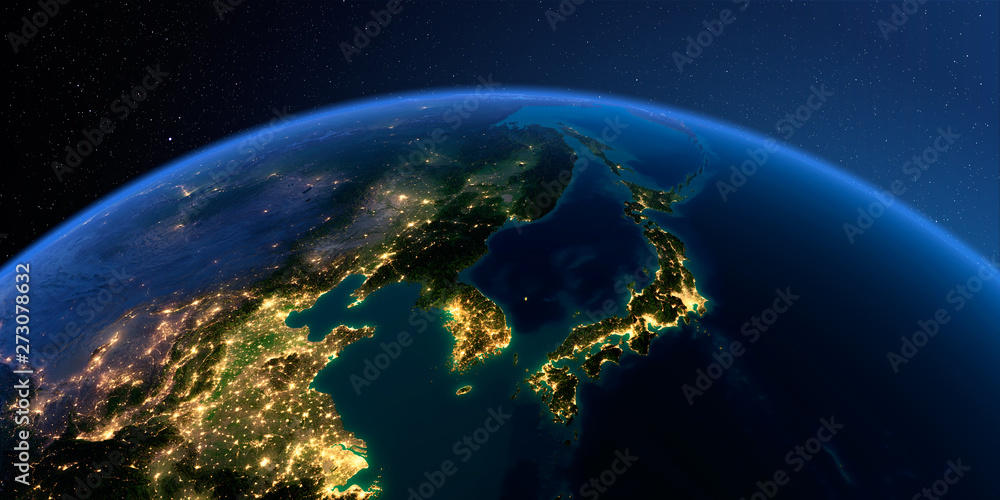 Fototapety, obrazy: Detailed Earth. Korea and Japan
