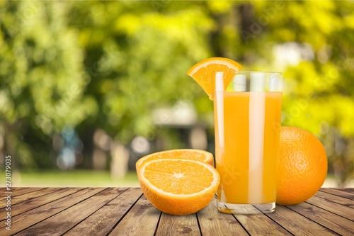Fotografie, Obraz  Orange Juice in glass on   background.