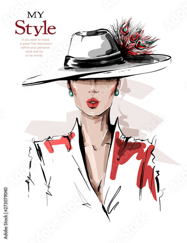 Obraz Hand drawn beautiful young woman in hat with feathers. Stylish elegant girl. Fashion woman look. Sketch. Vector illustration. - fototapety do salonu