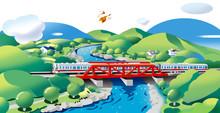 鉄橋の電車の風景