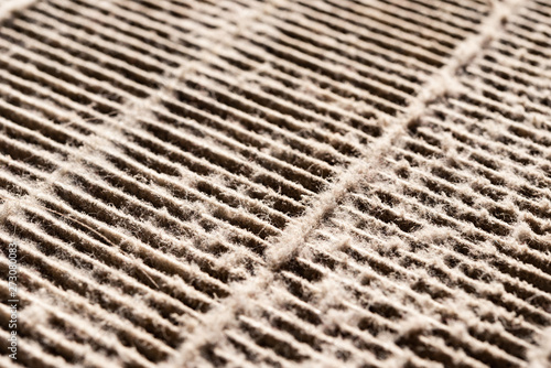 Photo angle view dirty air filter close up