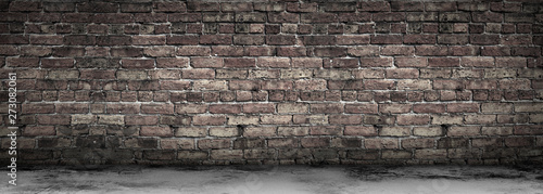 Deurstickers Baksteen muur Large Grungy Blank Old Brick Wall And Concrete Floor Banner with Copy Space