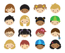 Vector Illustration Of Kid Faces. Faces Of Little Kids Including Boys, Girls, White, Asians, And African American Children.