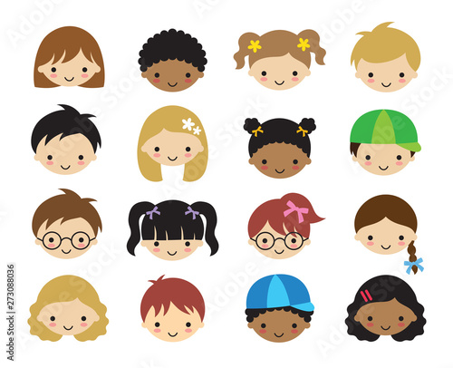 Fotografía Vector illustration of kid faces
