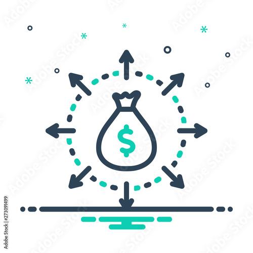 Pinturas sobre lienzo  Black mix icon for budget spending