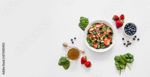 Fresh Strawberry Spinach Salad with Honey Balsamic Dressing Wallpaper Mural