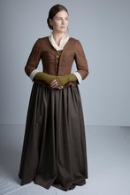 18th Century Woman In Brown Ensemble