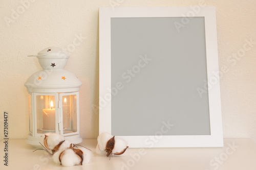 Fototapeta Layout of the frame in gray neutral color for design or inscription on a light background with a scroll and a cotton button.Mockup. obraz na płótnie