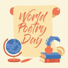 Hand Lettering World Poetry Day Illustration - Vector Background