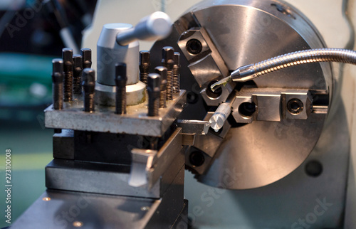 Fotografie, Obraz  lathe machine in a workshop , Part for equipment in the factory manufacturing me