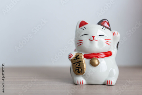 Fotomural  Maneki neko lucky cat show text on hand meaning rich on wood table background, s