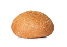 Fresh Burger Bun With Sesame Seeds Isolated On White