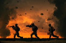 3 Military Soldiers Running In...