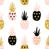 Creative seamless pattern with pineapple in pastel and gold glitter texture. Scandinavian stylish background. Vector illustration in nordic style - 273105469