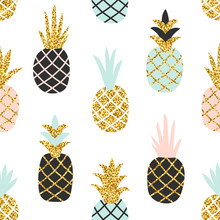 Creative Seamless Pattern Of Pineapple With Gold Glitter Texture. Scandinavian Stylish Background. Vector Illustration With Hand Drawn Cute Pineapple. Trendy Print
