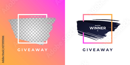 Valokuvatapetti Vector trendy gradient brush giveaway banner