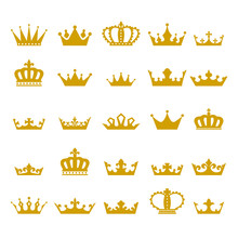 Crown Icon Set Heraldic Symbol Vector Illustration.