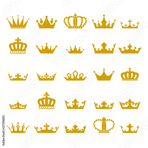 Obraz na plátne Crown icon set heraldic symbol vector illustration.