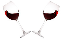 Set Of Glasses With Red Wine