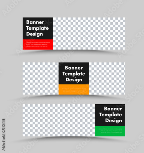 Pinturas sobre lienzo  Black vector horizontal web banner templates with photo space and colored rectangles for text