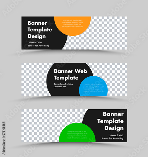 Pinturas sobre lienzo  Vector horizontal web banner templates with place for photo and black circle for header, color for text