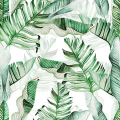 Panel Szklany Optyczne powiększenie Beautiful watercolor seamless pattern with tropical leaves and banana leaves.