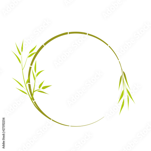 Fotografija bamboo branch. Round place for your text, bamboo branch, vector.