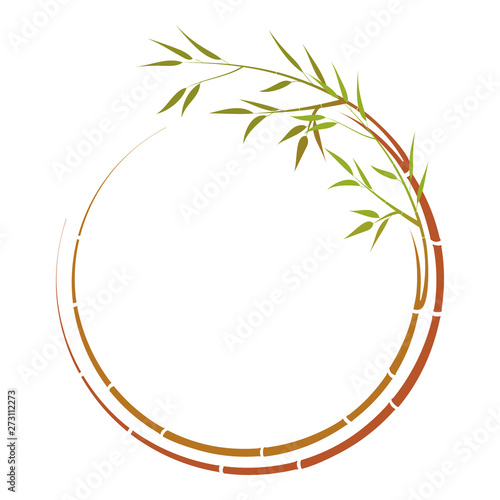 Round  twig of bamboo, For your text, vector.