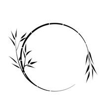 Round Place For Your Text, Bamboo Branch, Vector.