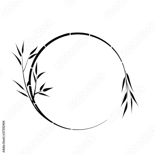 Slika na platnu Round place for your text, bamboo branch, vector.