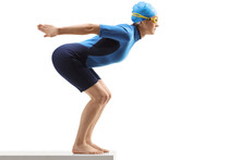 Woman Swimmer In A Wetsuit Getting Ready To Jump