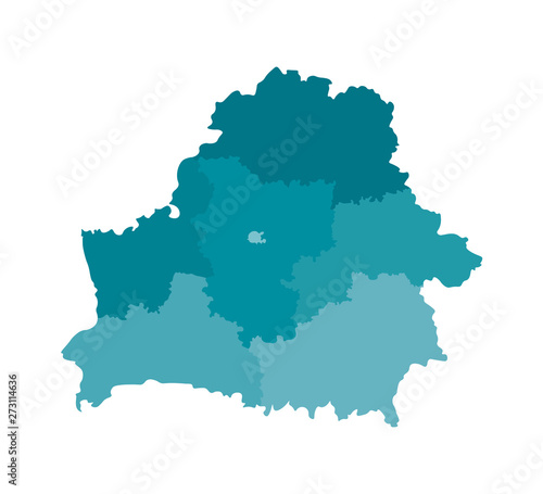 Fotografie, Obraz Vector isolated illustration of simplified administrative map of Belarus