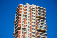 Exterior Of A Residential Tower Blocks Around Canada Water In London