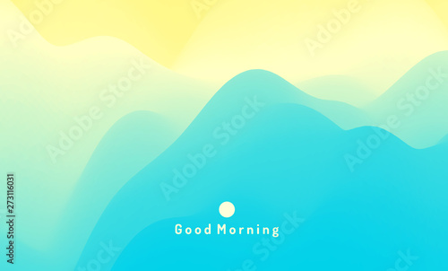 Poster Turquoise Landscape with mountains and sun. Sunrise. Mountainous terrain. Abstract background. Vector illustration.