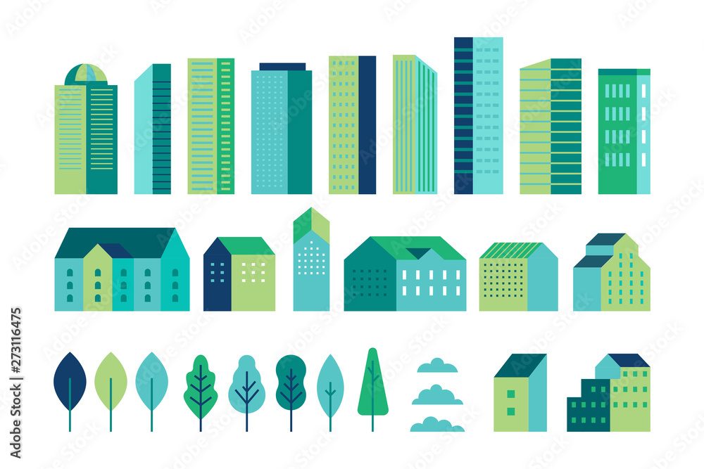 Fototapeta Vector set of illustration in simple minimal geometric flat style - city landscape elements - buildings and trees - city constructor for background for header images for websites, banners, covers