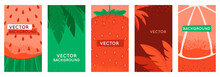 Vector Set Of Social Media Stories Design Templates, Backgrounds With Copy Space For Text - Summer Backgrounds With Fruits And Leaves