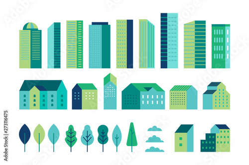 Obraz Vector set of illustration in simple minimal geometric flat style - city landscape elements - buildings and trees - city constructor for background for header images for websites, banners, covers - fototapety do salonu