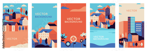 Vector set of social media stories design templates, backgrounds with copy space for text - urban landscapes with buildings