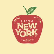 New York Big Apple Red Print Vector Illustration