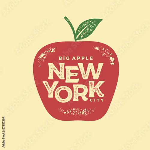 Fotografía New York big apple red print Vector illustration