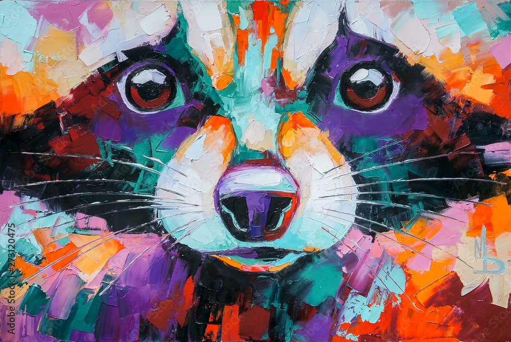 Oil raccoon portrait painting in multicolored tones. Conceptual abstract painting of a raccoon muzzle. Closeup of a painting by oil and palette knife on canvas.