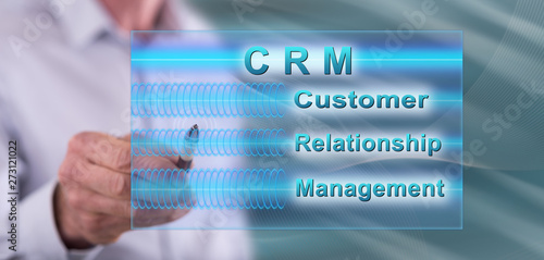 Poster Pays d Asie Man touching a crm concept