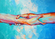 """""""Hands"""" - oil painting. Conceptual abstract hand painting. The picture depicts a metaphor for teamwork. Conceptual abstract closeup of an oil painting and palette knife on canvas."""